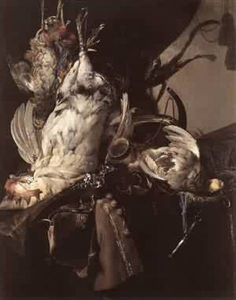still life of dead birds and hunting weapons 1660 XX staatliche museen berlin